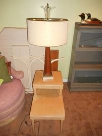 Pair of these step- up side tables, with another nice  Mid century modern table lamp