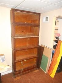 Vintage oak barristers bookcase complete.