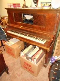 Gulbransen Player Piano and boxes of music rolls