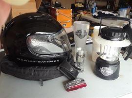 Harley-Davidson helmet, lantern, glasses