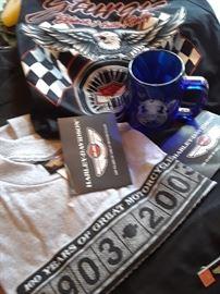 Harley-Davidson shirts and mug. Shirts with tags. New.
