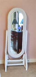 White wicker dressing mirror
