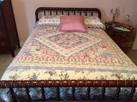 Antique full size spindle bed; full size quilt and shams sold separately