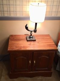 Pine night stand and accent lamp