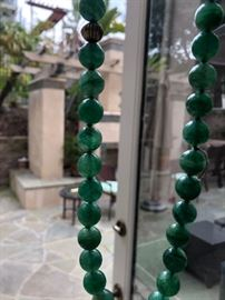 Large Jade Bead and gold necklace