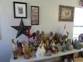 Chickens, roosters, prints, watercolors
