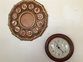 Zodiac plaque, wall clock