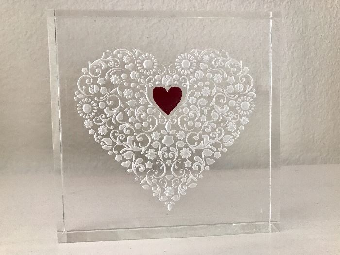 Large signed cut crystal heart