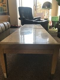 Mid century travertine marble coffee table