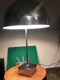 1960s habitat chrome and steel mushroom lamp