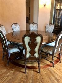 """84"""" round table (with removable circular leaf) and 8 chairs by Marge Carson"""