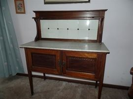 Love it! Antique kitchen cabinet w/marble top, can be used as a buffet