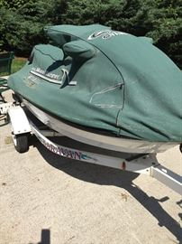 Jet ski with cover and trailer