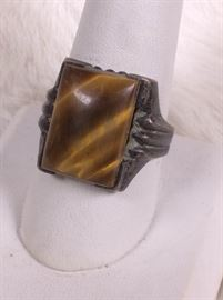 002 Sterling And Tiger Eye Ring