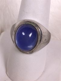 005 Sterling And Blue Stone Ring