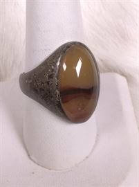 006 Sterling Mens Ring with Stone