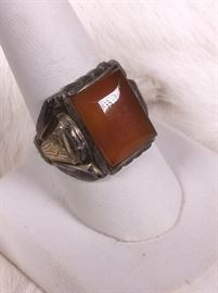 008 Sterling Gold And Stone Ring