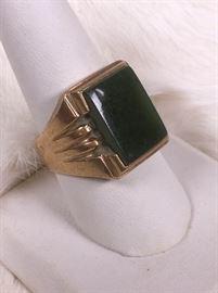 10k Gold And Jade Mens Ring