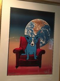 """Available for pre sale: George Rodrigue signed artist's proof, limited edition """"Space Chair,"""" 1992, framed 35x46; email earlybirdes@gmail.com"""