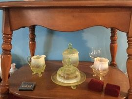 Look at the beautiful Vaseline glass just waiting for a place in your home.