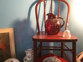 Bold red rare and red pitcher shows how diverse the items are at the sale.