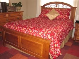 Queen bedroom group includes: Queen bed complete, dresser with mirror, two matching nightstand.  Excellent condition.