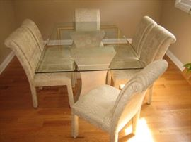 Glass Top Dinette 6 Chairs
