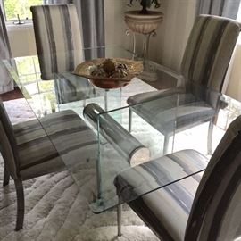 Glass Top Dinette Four Chairs