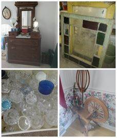 east lake dresser, stained glass, salts, spinning wheel