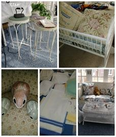 ice cream stools, wicker bassinet, linens, vintage wicker