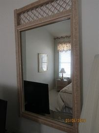 WICKER MIRROR THAT MATCHES THE DOUBLE DRESSER.. HENRY LINK FURNITURE
