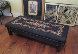 bench, with needlepoint top