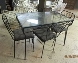 "glass top patio table and chairs 42"" x 26"""