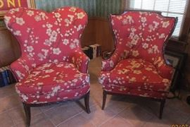 pair red floral chairs
