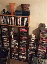 DVD collection and shelves
