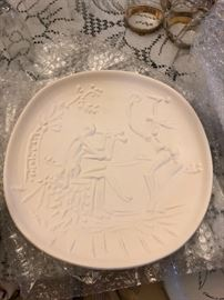 "RARE Picasso Original Numbered Unglazed White Earthenware Plate ""Danseurs et joueur de diaule""  1956  man seated playing a flute & girl dancing  Impressed with Madoura mark"