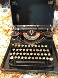 Antique Underwood Typewriter with ribbon covers