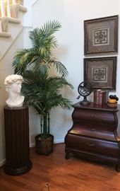 Lovely Foyer entrance with Pedestal and Bust, Commode cabinet, silk tree, Wall art and accessories