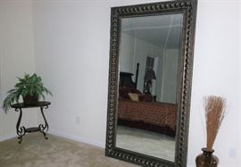 7 ft tall floor mirror, small table and decorative items