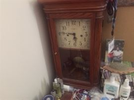 estate sale.small grandfather clock
