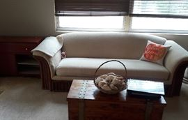 Wicker and fabric sofa