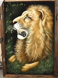 art Ortiz black velvet lion