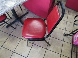 Lot of 3 Restaurant Chairs - Red Cushion