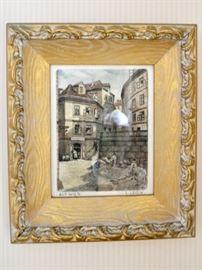 Framed etching on silk