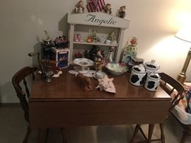 Hale Harvest Dropleaf Kitchen Table with 4 chairs! Music boxes and figurines and cow-theme cannisters!