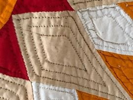 Detail of stitching to Sunburst Quilt