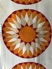 Enjoy this view of the sun!  Very fine southern, attributed to Macon G.A. area 19th C.  9 block sunburst pattern quilt.  Overall good estate condition, minor soiling, and color run to center block.