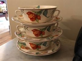 3 Taylor Smith & Taylor Cream Soup Bowls and Liners in a Shaggy Tulip Pattern Circa 1930
