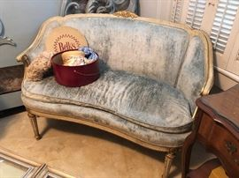 1960's French Provincial Cream and Gold Accented Settee, blue Velour Upholstery