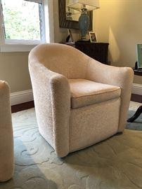 "Carter Swivel Chairs 31""W x 33""D x 33""H Fabric: Belle Aire - Cream  x2   original price  2,610.00"